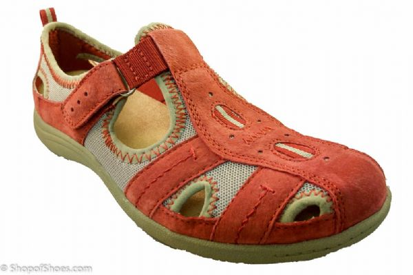 Orthotic suited red suede leather spring/ summer walking sandal